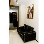 Jonsson Protein waiting area black sofa